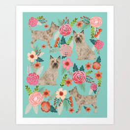 Cairn Terrier florals dog portrait cute dog breed custom gifts for dog lovers Art Print