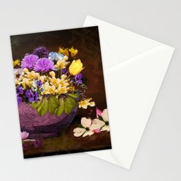 Colorful Flower Basket Stationery Cards