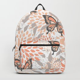 Floral and Butterflies Print, Gray, Coral, Peach Backpack