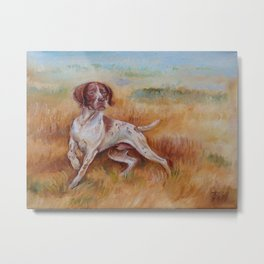 POINTING DOG German Pointer in the field Metal Print