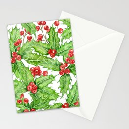 Holly berry watercolor Christmas pattern Stationery Cards