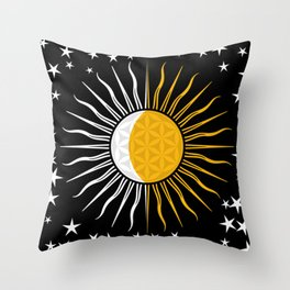 Sun Moon & Stars Flower Of Life Space Spiritual Zen Bohemian Hippie Yoga Mantra Meditation Throw Pillow
