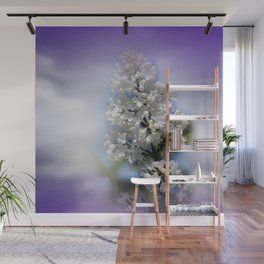 white lilac on textured background -a- Wall Mural
