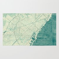 vintage map Area & Throw Rugs featuring Barcelona Map Blue Vintage by City Art Posters