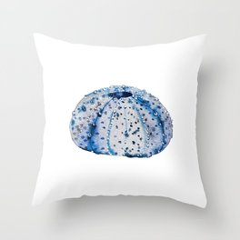 Ink blue urchin Throw Pillow
