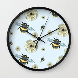 Bumble Bees and Flowers Wall Clock