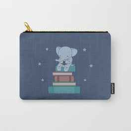 Kawaii Elephant Reading Books Carry-All Pouch