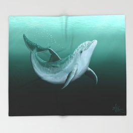 """""""Riversoul"""" by Amber Marine ~ Indian River Lagoon bottlenose dolphin art, (Copyright 2014) Throw Blanket"""