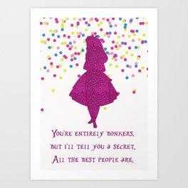 Pink glitter and confetti bonkers Art Print