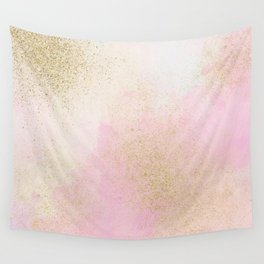 Pretty In Pink And Gold Delicate Abstract Painting Wall Tapestry