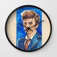 david tennant Wall Clocks featuring David Tennant 10th Doctor Who by Tiffany Willis