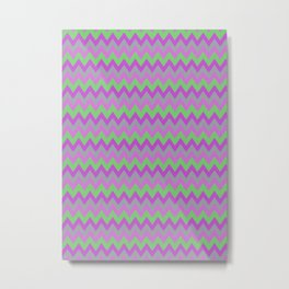 pink purple and green chevron Metal Print