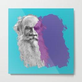 Leo Tolstoy portrait blue and purple Metal Print