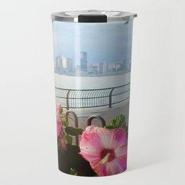 Battery Park New York City Skyline with Pink Hibiscus Flowers Travel Mug