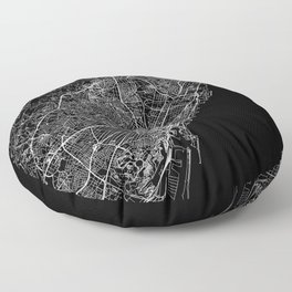 Barcelona Black Map Floor Pillow