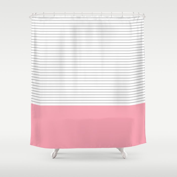 Minimal Gray Stripes Pink Shower Curtain By Allyjcat