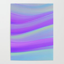 cold blue and violate colorful wavy abstract mixer brush Poster