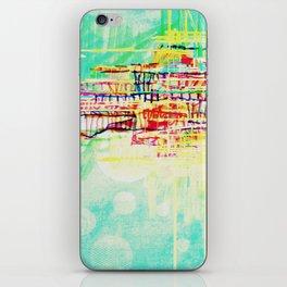 futuristic world in turquoise iPhone Skin
