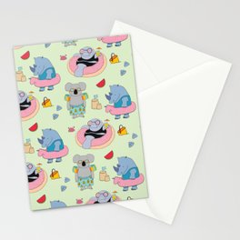 Beach animals - green Stationery Cards