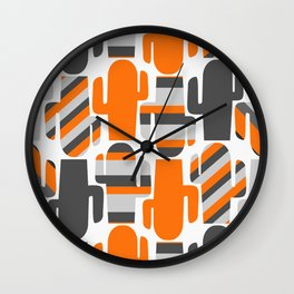 Modern striped cacti Wall Clock