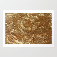gold glitter Art Prints featuring Glitter by Ellie Rose Flynn