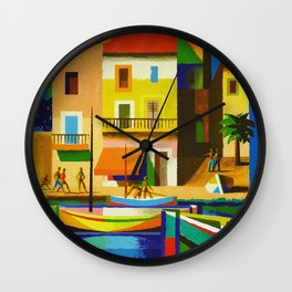 Vintage French Riviera Travel Ad Wall Clock