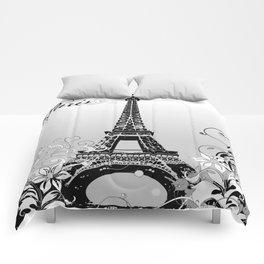 Eiffel Tower Paris (B/W) Comforters