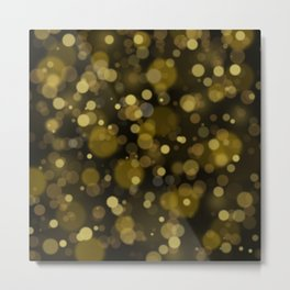 Elegant black gold yellow abstract bokeh pattern Metal Print