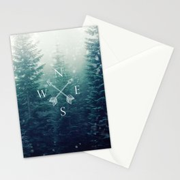 Arrow Compass in the Winter Woods Stationery Cards