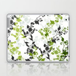 Branches and Leaves in Cobalt Grey and Green Laptop & iPad Skin