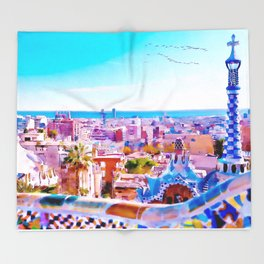 Park Guell Watercolor painting Throw Blanket