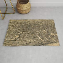Vintage Pictorial Map of Plattsburgh NY (1899) Rug