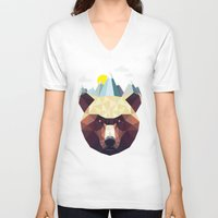 mountain V-neck T-shirts featuring Bear Mountain  by Davies Babies