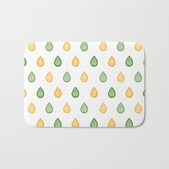 Yellow and green raindrops Bath Mat