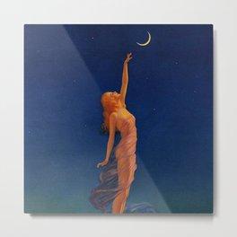 Reaching for the moon female portrait painting by Edward Mason Eggleston Metal Print