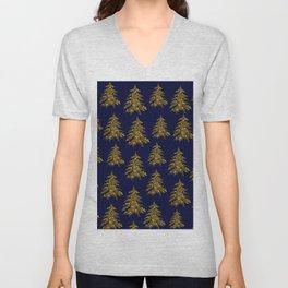 Sparkly gold Christmas tree on dark blue Unisex V-Neck