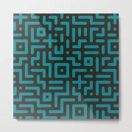 Round line geometric elements cyan Metal Print