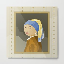 Girl with pearl by Vermeer  Metal Print