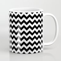 chevron Mugs featuring Chevron (Black/White) by 10813 Apparel