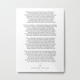 If - Rudyard Kipling - Minimal, Sophisticated, Modern, Classy Typewriter Print Metal Print
