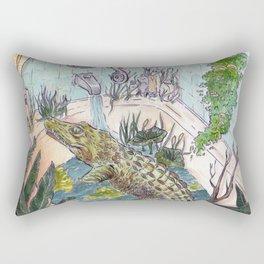 Crocodile in the Tub Rectangular Pillow