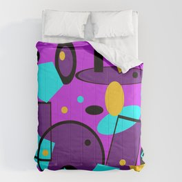Retro abstract geometric vintage  print purple violet Comforters