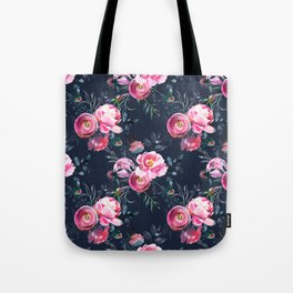 Navy and Bright Pink Floral Print Tote Bag