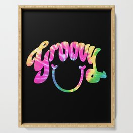 Groovy Smile // Tie-dye Black Fun Retro 70s Hippie Vibes Green Yellow Pink Lettering Typography Art Serving Tray