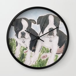 Boston Puppies Wall Clock