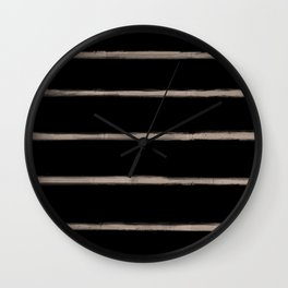 Skinny Strokes Gapped Horizontal Nude on Black Wall Clock