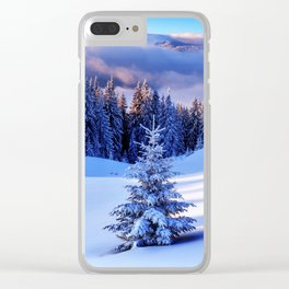 Snow Trees Clear iPhone Case