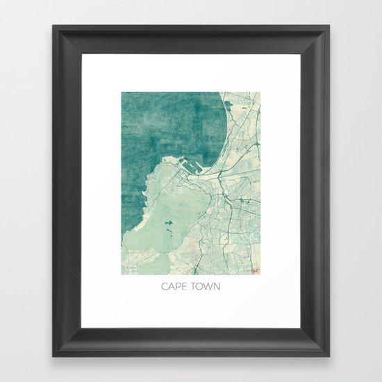 Cape Town Map Blue Vintage Framed Art Print by City Art ...