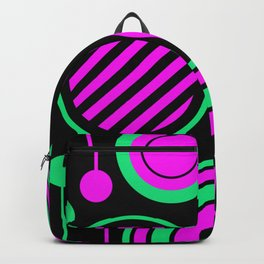 Retro Rings And Circles - Black, Purple And Green Backpack
