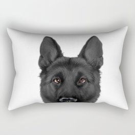 Black German Shepherd, Original painting by miart Rectangular Pillow